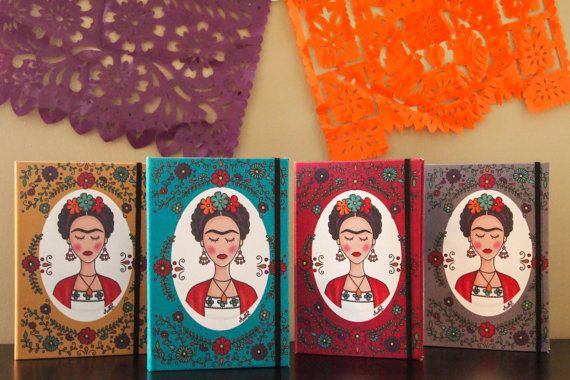 """$22.00, Martha Ducoing Art. <a href=""""https://www.etsy.com/listing/243246753/frida-kahlo-with-flowers-notebook?ref=related-0"""""""