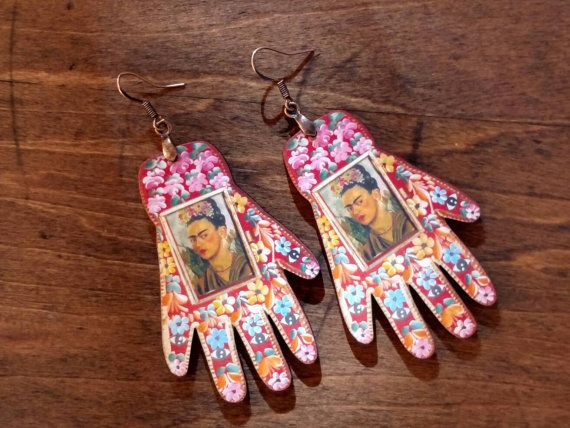 "$16, Roadside Linen Arts. <a href=""https://www.etsy.com/listing/482089769/frida-kahlo-earrings-laser-cut-wood-hand?ga_order=m"