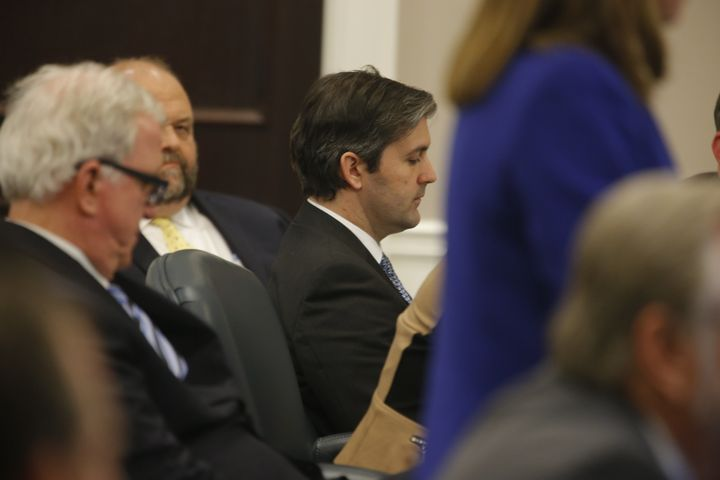 Slager, center, sits in the courtroom during his murder trial on Dec. 2, 2016.