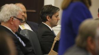CHARLESTON, SC - DECEMBER 02:  North Charleston police officer Michael Slager,  center, sits in the courtroom during his murder trial at the Charleston County court in Charleston, S.C., Friday, Dec. 2, 2016, in Charleston, S.C. Circuit Judge Clifton Newman told the jurors Friday afternoon that they should try again to reach a verdict in the trial of former South Carolina patrolman Michael Slager. Slager is accused of shooting and killing Walter Scott, an unarmed black man during a traffic stop in April 2015. (Photo by Grace Beahm - Pool/Getty Images)