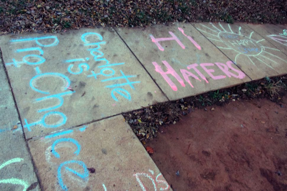 Members of Pro-Choice Charlotte spent Friday evening writing pro-choice phrases in chalk outside the clinic.