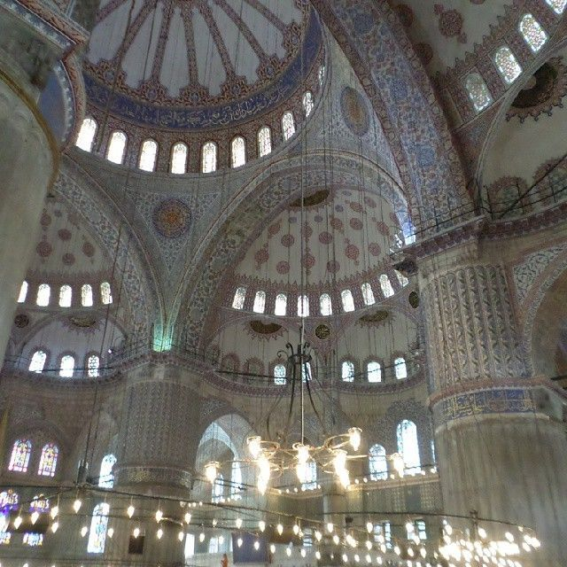 Inside the Sultan Ahmet Mosque, also know as the Blue Mosque
