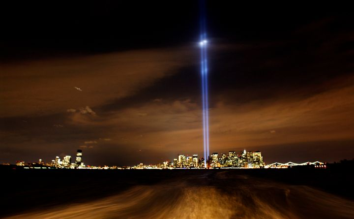 "A photograph Ed Ou took in 2008 of the ""Tribute in Lights"" representing the towers of the World Trade Center as seen fro"