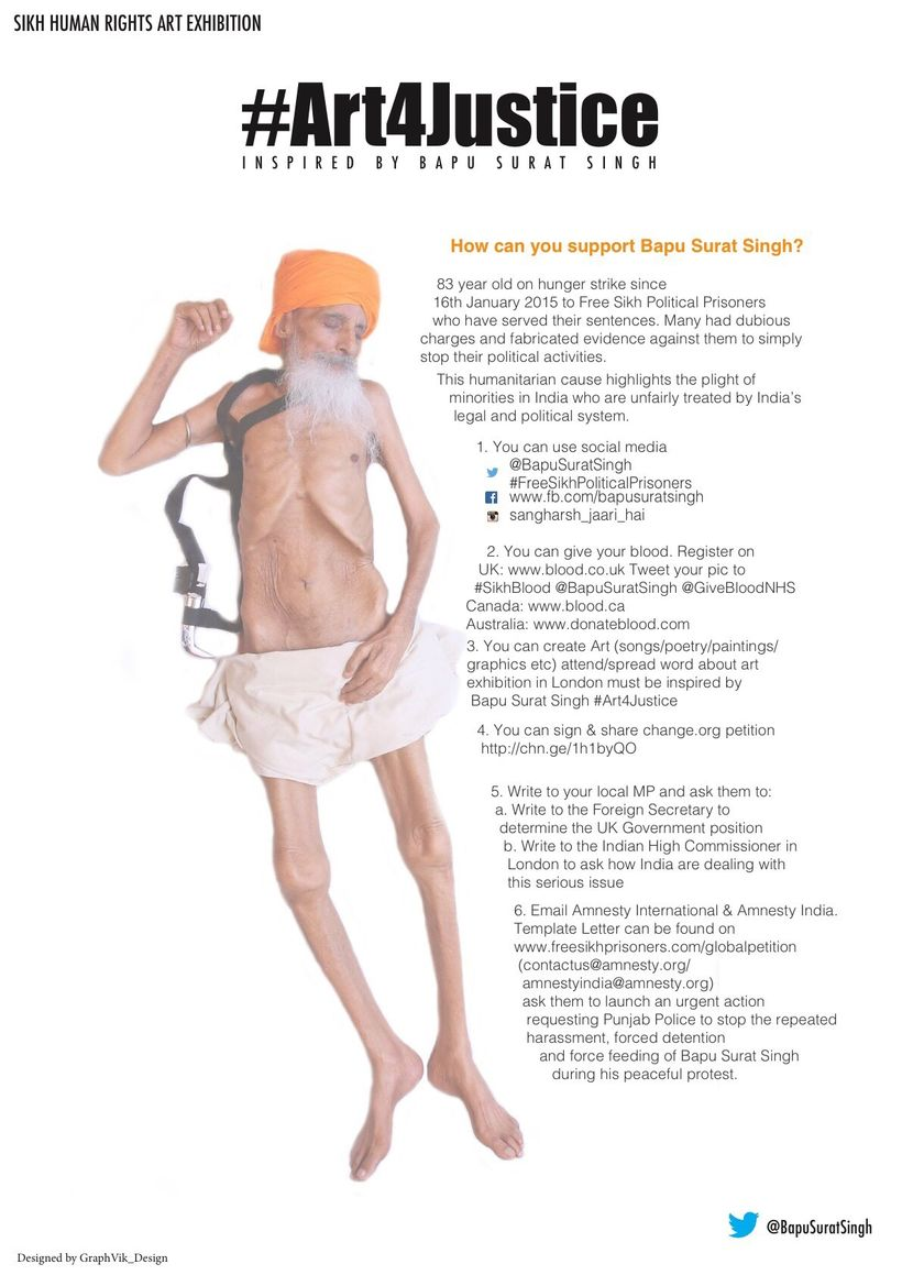Poster detailing how one can help raise awareness for Bapu Surat Singh Khalsa and Sikh political prisoners (Courtesy of graph