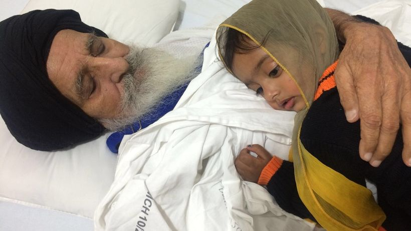 Bapu Surat Singh Khalsa with his granddaughter