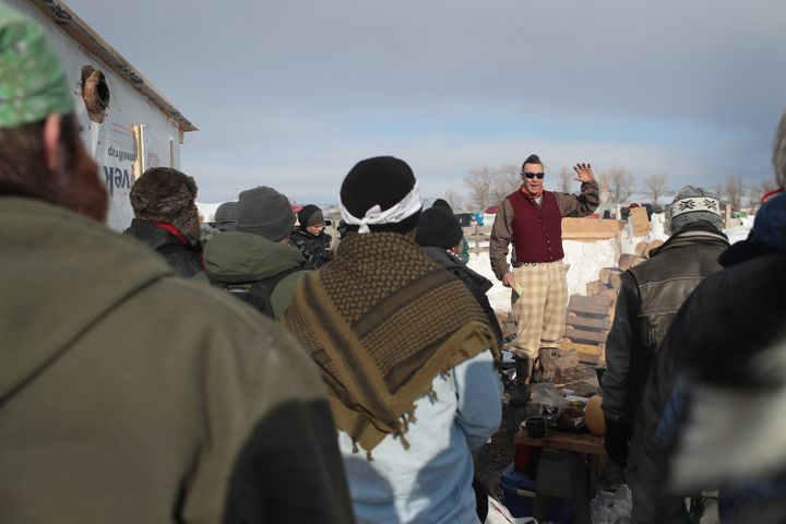Military veterans are briefed on camp rules and their mission at Oceti Sakowin Camp on the edge of the Standing Rock Sioux Re