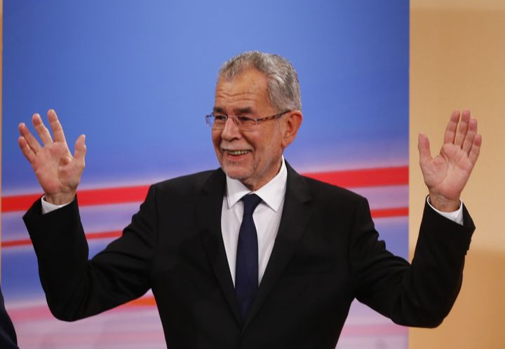 Austrian presidential candidate Alexander Van der Bellen, who is supported by the Greens, and reacts during a TV show in Vien