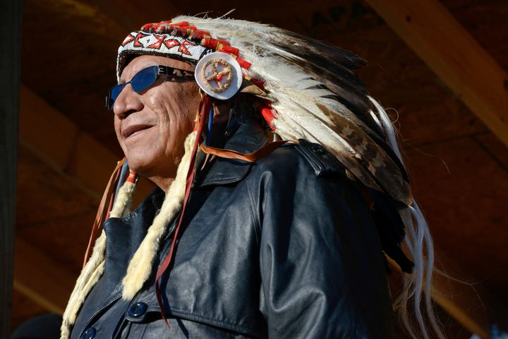 Arvol Looking Horse, spiritual leader of the Sioux nation, participates in a ceremony in Oceti Sakowin camp.