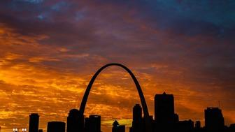 The St Louis Arch as seen at sunset The structure was built as the gateway to the West