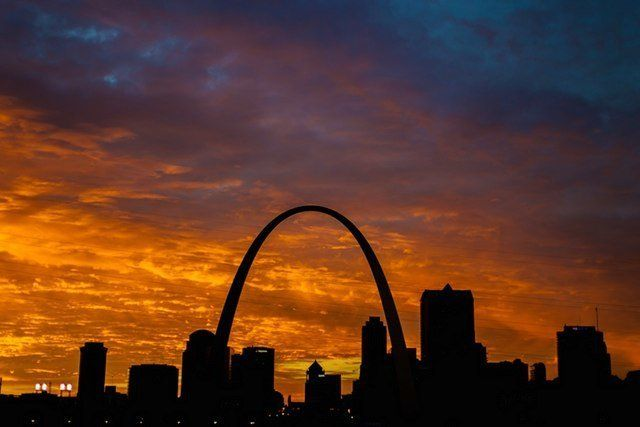 "The St. Louis Arch, as seen at sunset. The structure was built as the ""gateway to the West."""