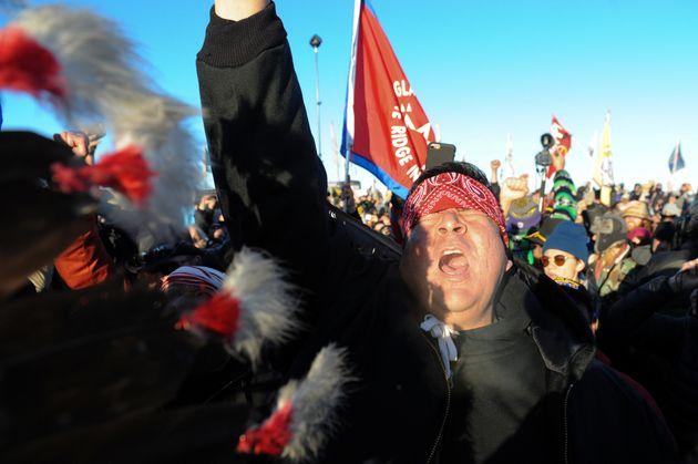 People celebrate in Oceti Sakowin