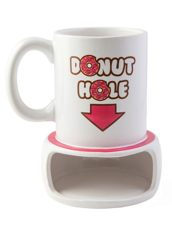 """It's a """"hole"""" new way of enjoying coffee and donuts. The <a href=""""http://www.fun.com/coffee-and-a-donut-mug.html"""" target=""""_bl"""
