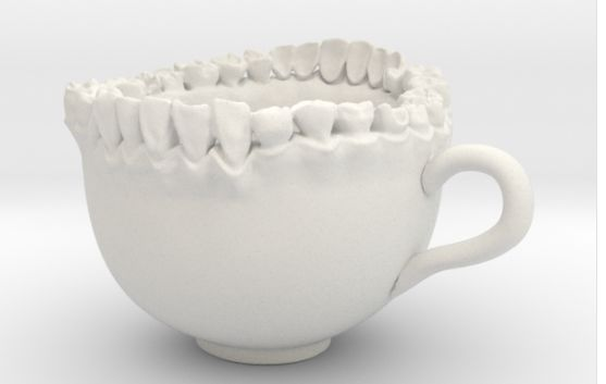 "This cup really bites! But not in a bad way. The <a href=""https://www.shapeways.com/product/QXR2JSMNU/teeth-tea-cup?optionId="