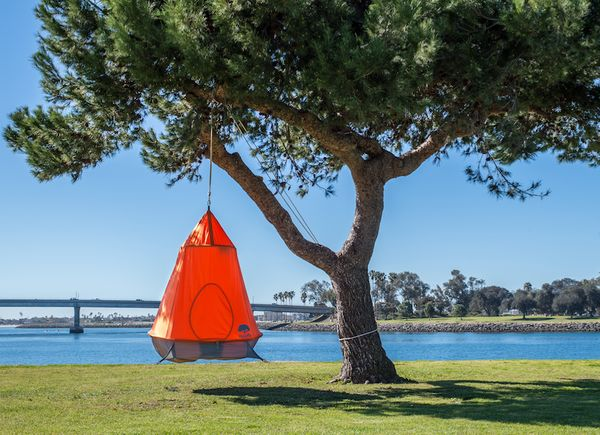 """<a href=""""http://mytreepod.com"""" target=""""_blank"""">The Treepod</a> is a combination tent and hammock. It hangs from a tree or fro"""