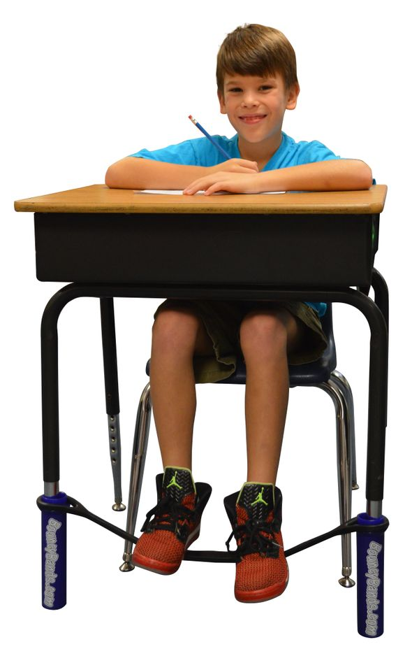 "Does your kid have a lot of nervous energy in class? Help him or her relieve some of it with <a href=""http://BouncyBands.com/"
