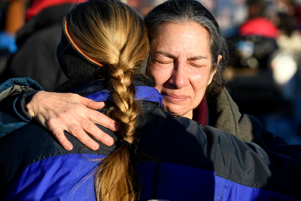 Activist Brenda Cohen cries tears of joy as she celebrates at Oceti Sakowin camp on the Standing Rock Sioux Reservation.