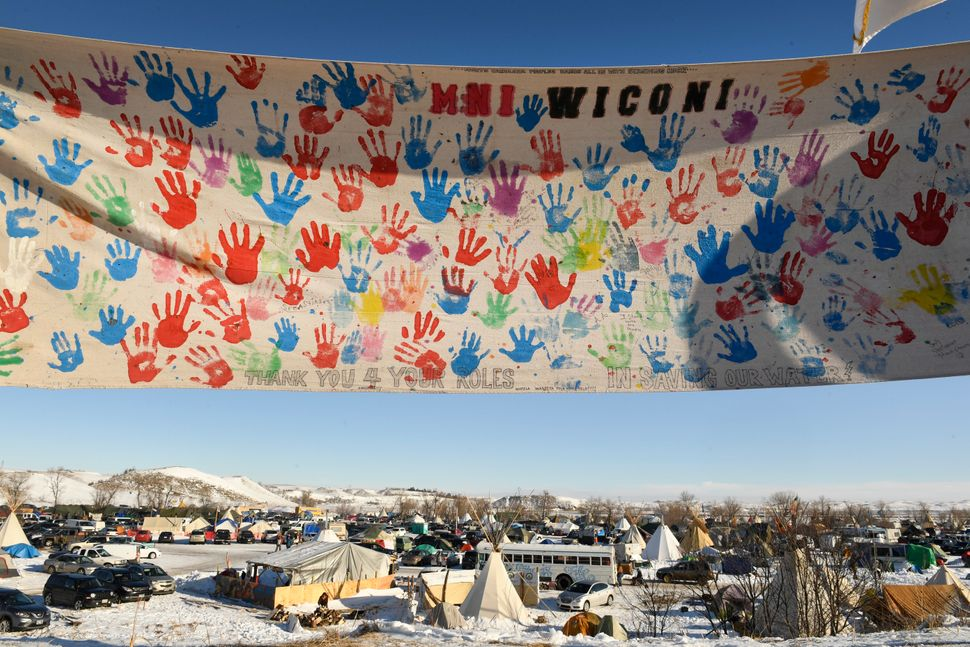 The encampment at Oceti Sakowin camp on the Standing Rock Sioux Reservation.