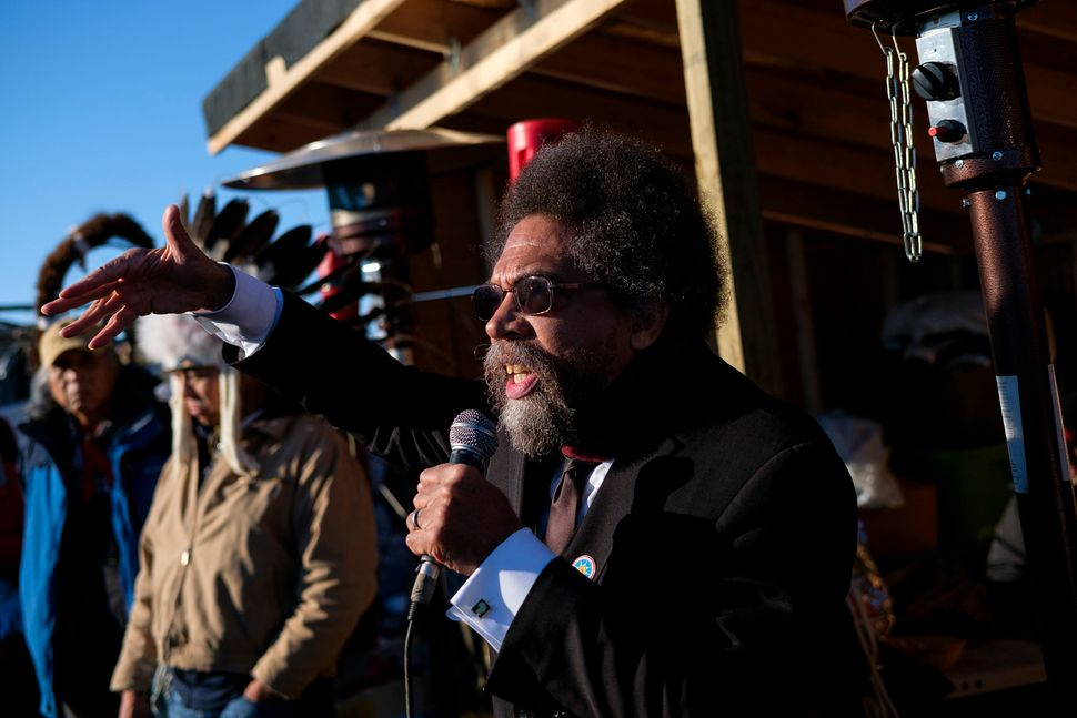 Cornel West speaks during a multi-faith congregation at the Oceti Sakowin campground.