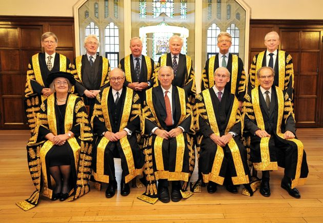 The Lords of the Supreme Court, (back row, left to right) Lord Carnwath, Lord Sumption, Lord Clarke,...