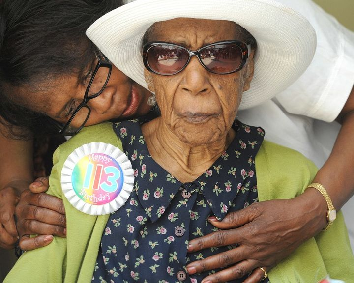 <p>Susannah Mushatt Jones on her 113th birthday in Brooklyn.</p>