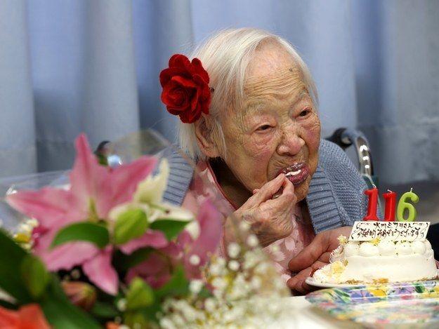 <p>Misao Okawa on her 116th birthday in 2014 in Osaka, Japan.</p>