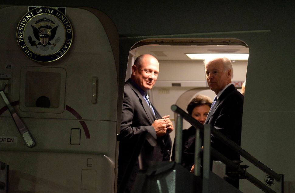 US Vice President Joe Biden (R) alights from the plane upon arrival at the Benito Juarez international airport in Mexico City