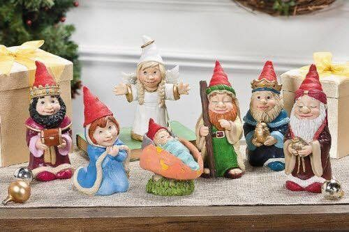 "<a href=""http://www.orientaltrading.com/gnome-nativity-set-a2-95_6349.fltr"" target=""_blank"">A Nativity scene featuring gnomes"