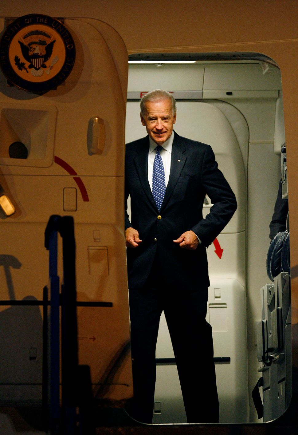 U.S. Vice President Joe Biden gets ready to step out of a plane after landing in Sarajevo early May 19, 2009. Biden arrived i