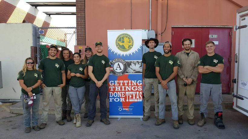 Carrejo (third from right) and fellow AmeriCorps members on a Texas Conservation Corps disaster response team.