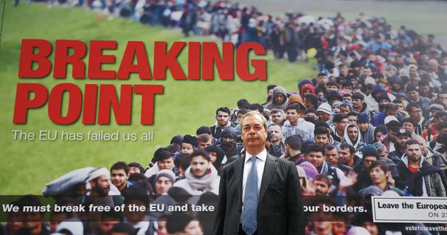 Nigel Farage with his 'Breaking Point' poster in