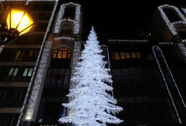 A Christmas tree is seen in one of the main shopping streets in the City Centre on December 2, 2016 in Budapest, Hungary.&nbs