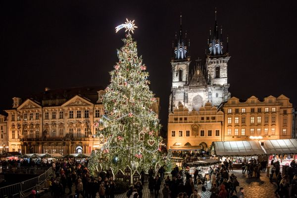 The illuminated Christmas tree at the Christmas market at Old Town Square in Prague, Czech Republic on December 1, 2016. Chri