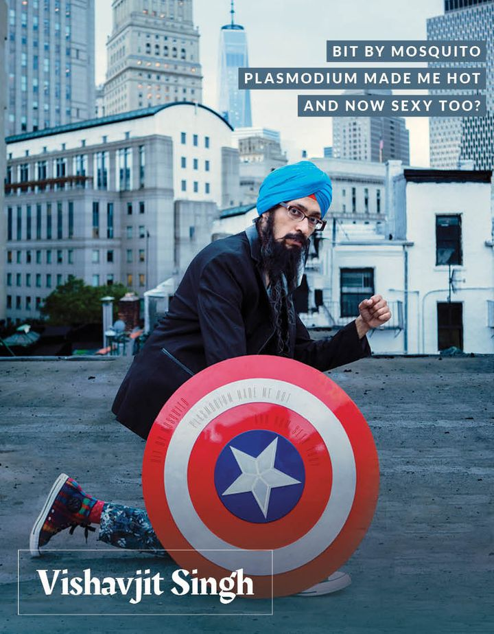 "Vishavjit Singh, a cartoonist who's best known as his alter ego ""Captain Sikh America."""