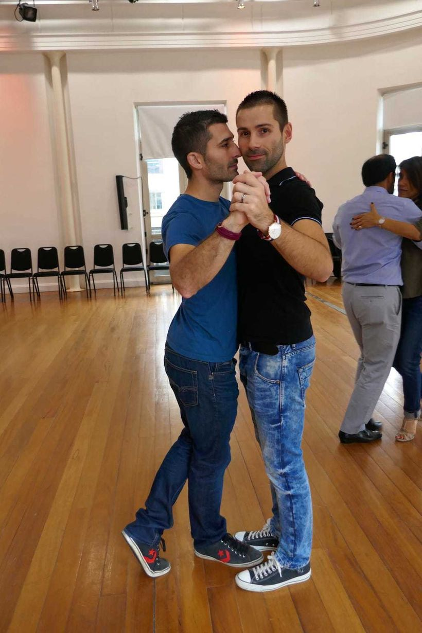 Stefan and Sebastien tango dancing in Montevideo