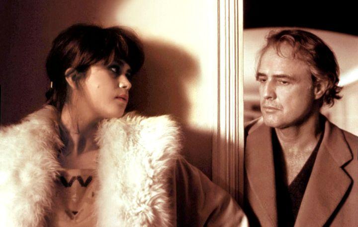 "Maria Schneider and Marlon Brando on the set of""Last Tango In Paris."""