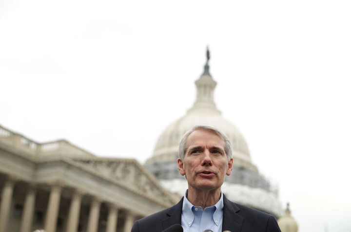 Sen. Rob Portman (R-Ohio) speaks about the opioid epidemic during a news conference on May 19. Legislators held the