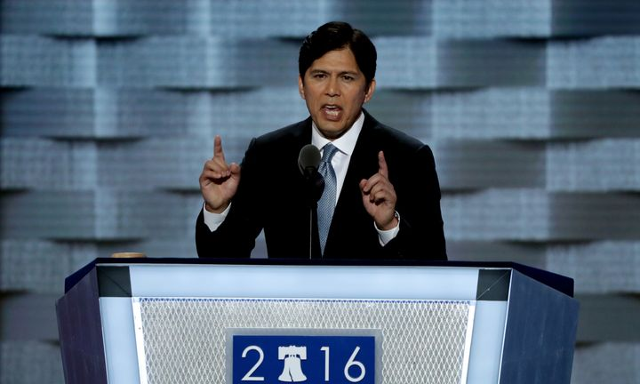 California State Sen. Kevin de Leon delivers a speech on the first day of the Democratic National Convention on July 25, 2016
