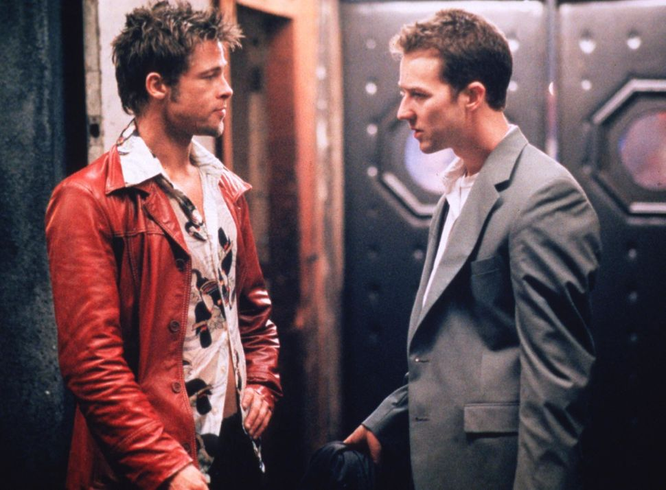 "Actors Brad Pitt and Edward Norton are shown in a scene from the film ""Fight Club."""
