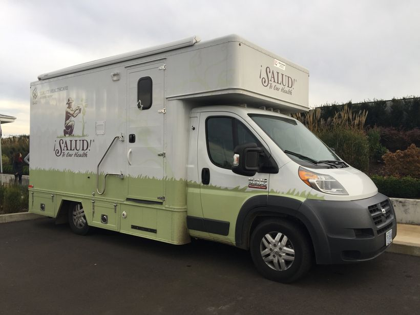 The Salud! Programs mobile unit heads regularly to vineyards to work with seasonal workers.