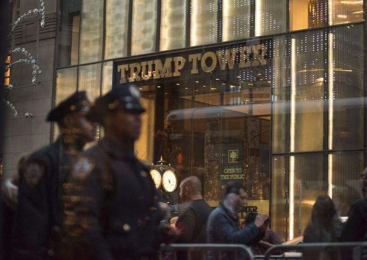 New York police officers keep watch outside Trump Tower in midtown Manhattan on Nov. 18, 2016.
