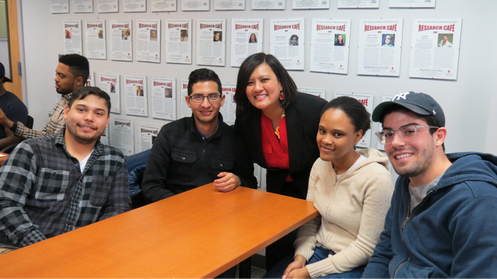 <i>Maung-Gaona and PhD students Jesse John, Michael Cortes, Moises Guardado, Andreyah Pope, and Dominic Moronta</i>