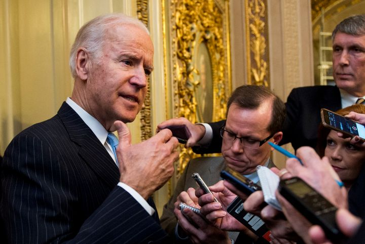 Biden speaking to reporters after the Senate vote.