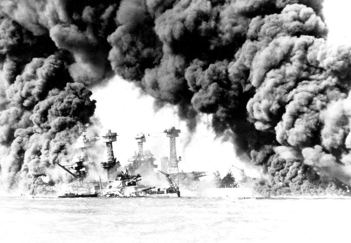 The West Virginia and Tennessee battleships are ablaze after the Pearl Harbor attack Dec. 7, 1941.