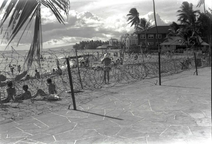 Barbed wire was installed at Waikiki Beach and other coastlines across Hawaii after the 1941 attacks on Pearl Harbor.