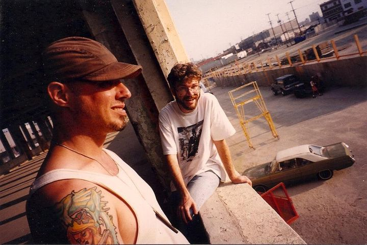 Jim Fittipaldi (L) and the author circa 1996 on the second floor of an abandoned Downtown L.A. shipping dock that is now Sci-