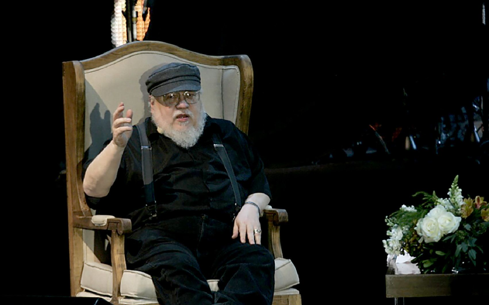 US writer George R.R Martin, author of the book series Game of Thrones, speaks during a conference at the Guadalajara International Book Fair in Guadalajara, Mexico on December 2, 2016. / AFP / STR        (Photo credit should read STR/AFP/Getty Images)