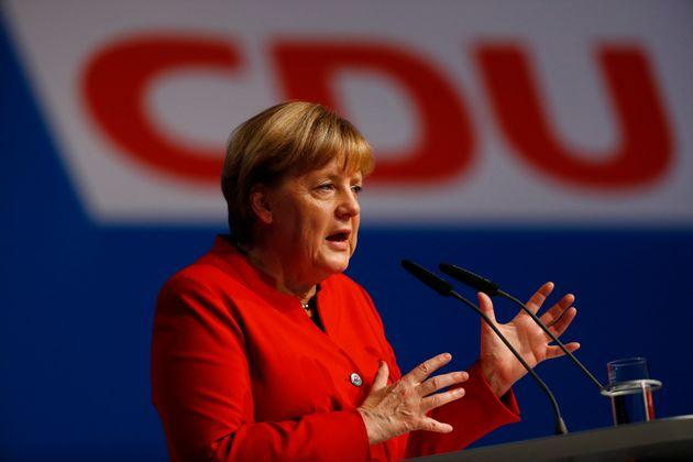 Angela Merkel addresses the CDU party convention in Essen, Germany on