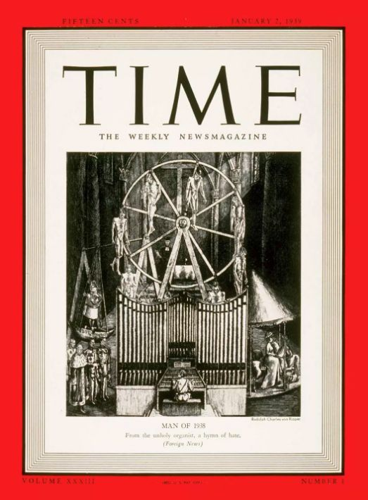 'From the unholy organist, a hymn of hate' -The cover announcing Hitler as Time's man of
