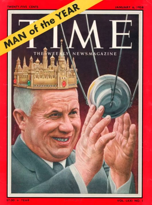 Nikita Khrushchev pictured with the Kremlin on his head and the Sputnik satellite in his