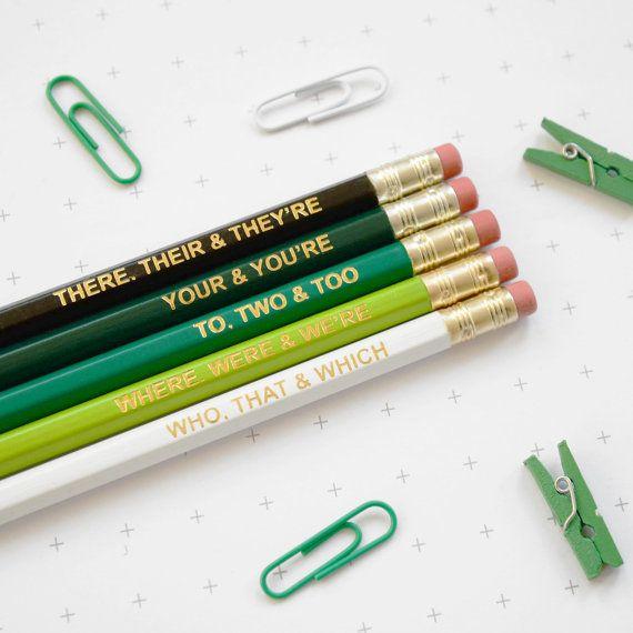 """Grammar pencils, $9.83, <a href=""""https://www.etsy.com/listing/264968897/green-grammar-pencils-ombre-coloured?ga_order=most_re"""